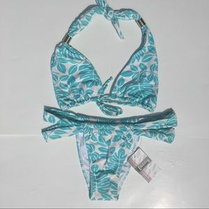 Bikini 2 pc Turquoise/White Made in Brazil Sz L